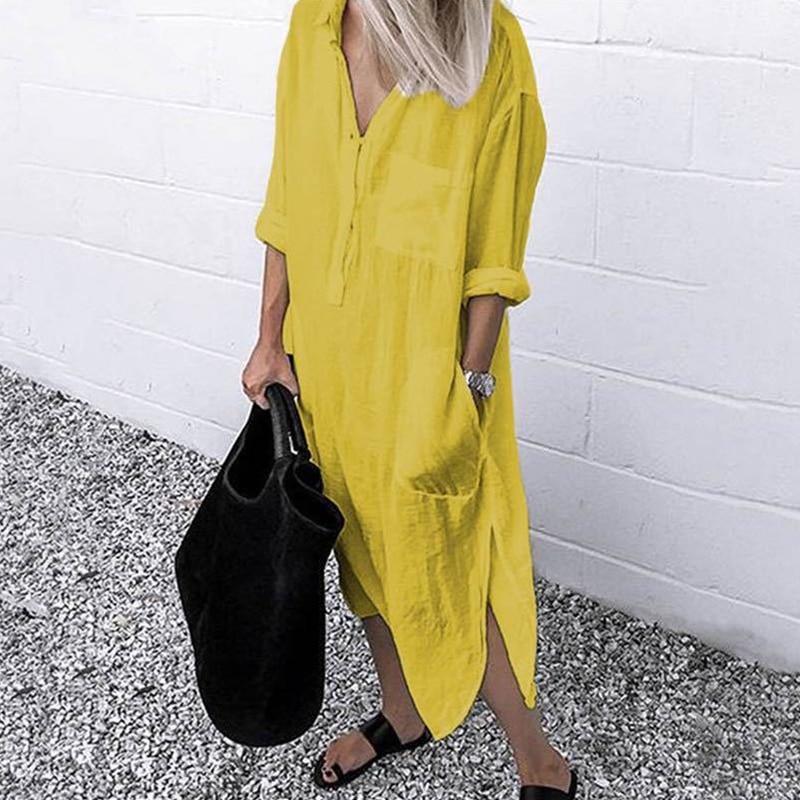 2021 Lady Elegant Long Shirt Dress Fashion Spring/Autumn Long Sleeve Casual Simple Pure Color S-4XL Women Dress 2