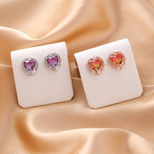 2019 contracted personality multicolor fine crystal heart Hollow design style Women Stud earrings new shiny Jewelry