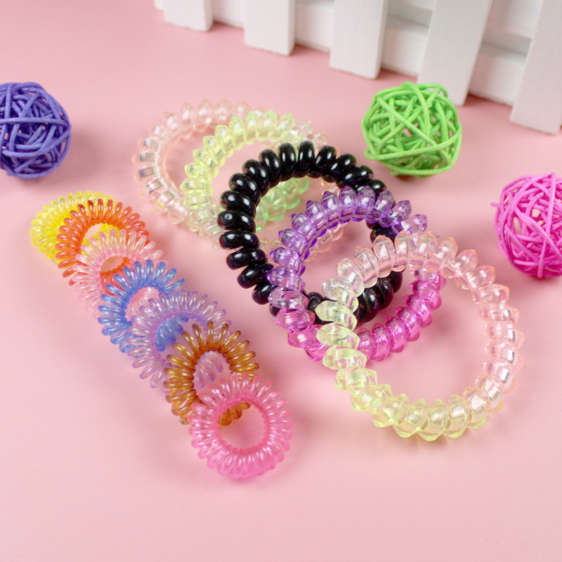 10PCS Hair Accessories Hair Ring Fashion Transparent Telephone Wire Elastic Hair Bands Solid Colors Plastic Spring Gum Hairband in Hair Accessories from Mother Kids