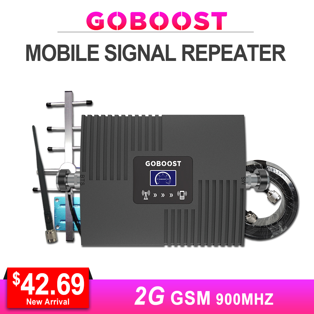 GSM Repeater Cellular Signal Booster 65dB Gain GSM 900MHZ 2G LCD Display For Mobile Phone Signal Amplifier Yagi+Whip Antenna #