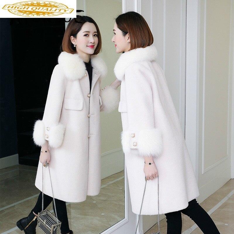Real Fur Coat 100% Wool Jacket Women Clothes 2020 Autumn Winter Coat Women Fox Fur Collar Manteau Femme XLB8113 YY1967