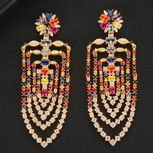 Image 2 - GODKI 75mm MAXI Size Charms Luxury Link Chain Tassel Drop Earring Women Full Mirco CZ Paved Cubic Zircon Wedding Fashion Jewelry