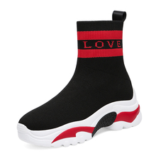 Women Sneakers Breathable Flats 2019 Fashion Casual Sock Black Ankle Outdoor High Ladies Shoes  A0037