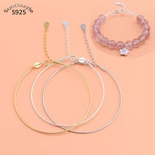 Genuine Real Pure Solid 925 Sterling Silver Bracelet Bangles Women Beads Hand Band DIY Jewelry Findings Beading Thread Bangle pure silver 925 twisted cord weave bangle men women vintage cuff bracelet 6mm band 100% real sterling silver 925 handmande craft