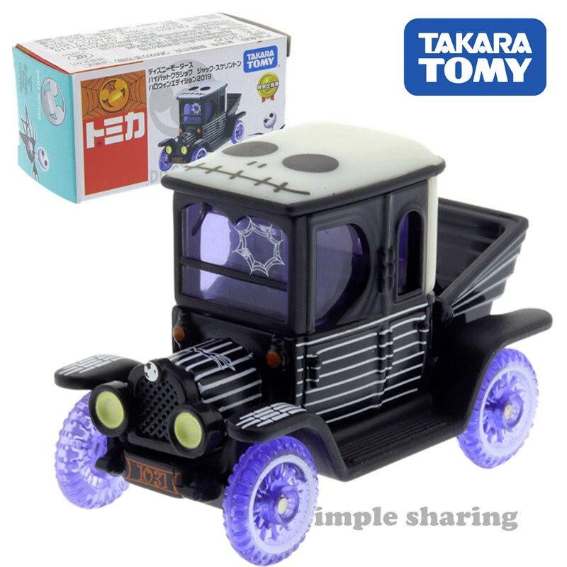 Takara Tomy Tomica Disney Motors Skellington Holloween Classic Car Toy Miniature Carrier Model Diecast Anime Figure Baby Toys