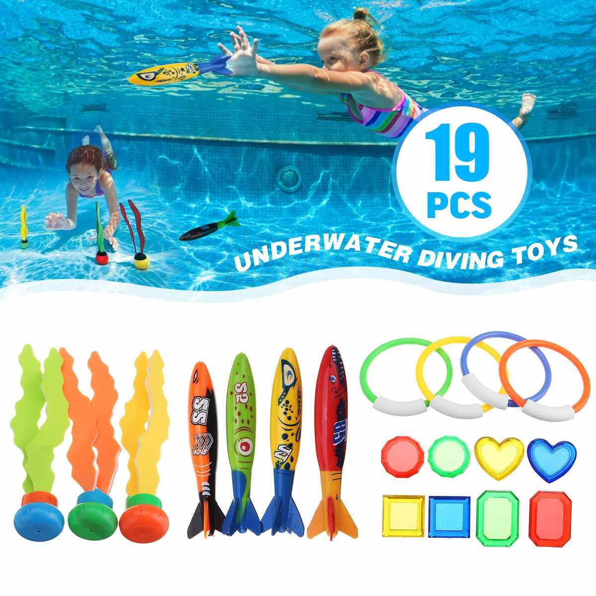19PCS Kids Children Diving Ring Water Toys Pool Summer Swimming Water Fun Loaded Throwing Toys Underwater Beach Toy