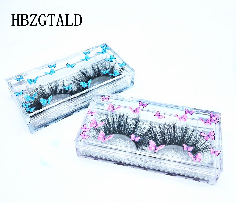 Wholesale 20/50pack Fashion Color butterfly lash case eyelash packaging box Empty boxes packaging case Rectangle box Storage