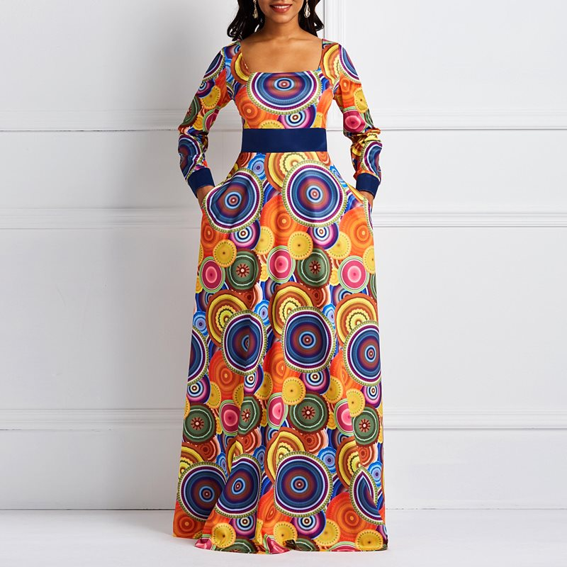 Summer Elegant <font><b>Sexy</b></font> Party Ethnic <font><b>Orange</b></font> Sunflower Women Long <font><b>Dresses</b></font> Square Neck Aline Print Plus Size Female Fashion Maxi <font><b>Dress</b></font> image