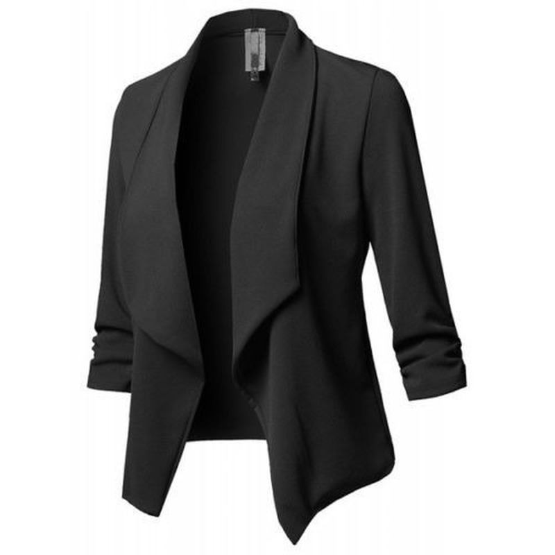 Women Black Blazers Cardigan Coat 2019 Long Sleeve Women Blazer And Jackets Ruched Casual Business Suit Office Ladies Outwear