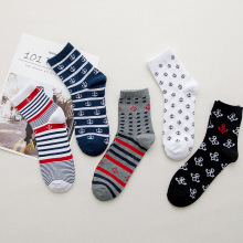 5pairs Fashion Stripe Anchor Socks Men Cotton Long Crew Man Autumn Winter Funny Casual Calcetines Meias
