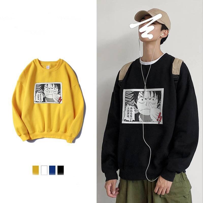 5XL Long Sleeve One Piece Hoodies Japan Harajuku Sweatshirts Fashion Hip Hop Hoodie Streetwear Casual Autumn Hoodie Funny Men