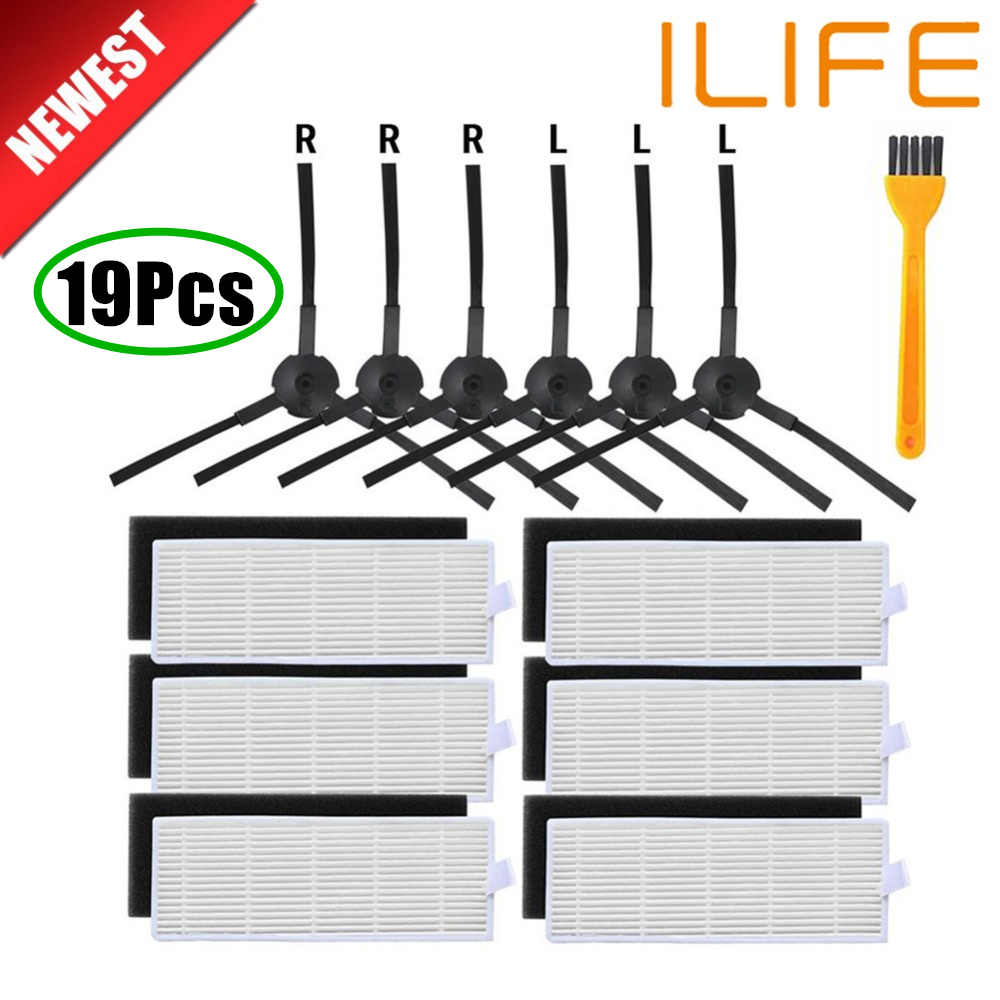 18 teile/los Roboter staubsauger Hepa-filter für ilife A8 a40 a6 a4 a4s teile filter Seite Pinsel danhui roboter staubsauger teile