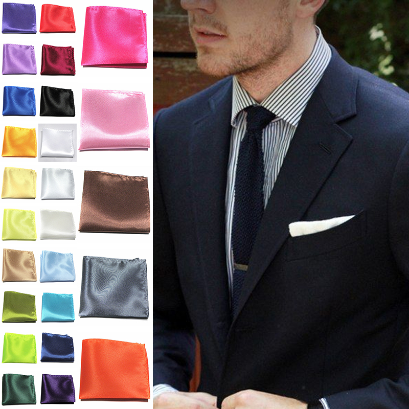 20*20cm Men Solid Square Silk Satin Handkerchief Pocket Hanky Wedding Formal Party Suit Hankies Pocket Towel