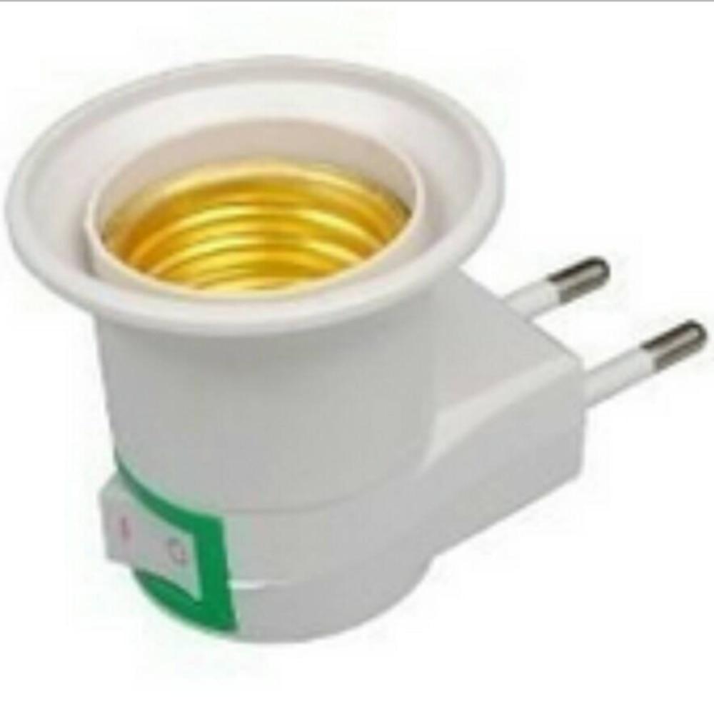 Ночсветильник E27 с 2-контактным адаптером для штепсельной вилки европейского стандарта и выключателем питания, цоколь лампы E27