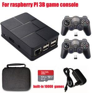 Console de videogame retrô hdmi 64gb, memória para raspberry pi 3b, reprodutor de jogos pi-boy 2.4g sem fio embutido 10000 jogos