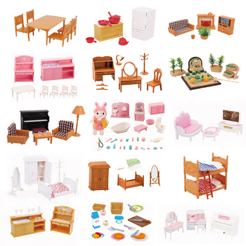1:12 Simulation Miniature Furniture Toys Dolls Kids Baby Room Play Toy Forest Animal Family  Furniture Set For Dolls Edutation