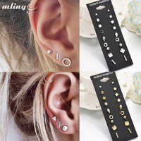 9 Pairs/set Gold Silver Crystal Earrings Set Women Female Round Small Geometric Piercing Earrings for Party Gift Wholesale