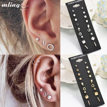9 Pairs/set Gold Silver Crystal Earrings Set Women Female Round Small Geometric Piercing Earrings for Party Gift Wholesale(China)