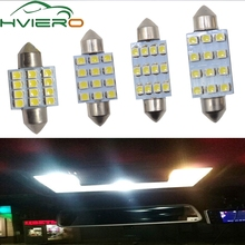 цена на 2X 31mm 36mm 39mm 41mm DC 12V C5W C10W 1210 3528 White 12Smd Festoon Dome Reading LED Panel Reading License Lamp Wedge bulbs