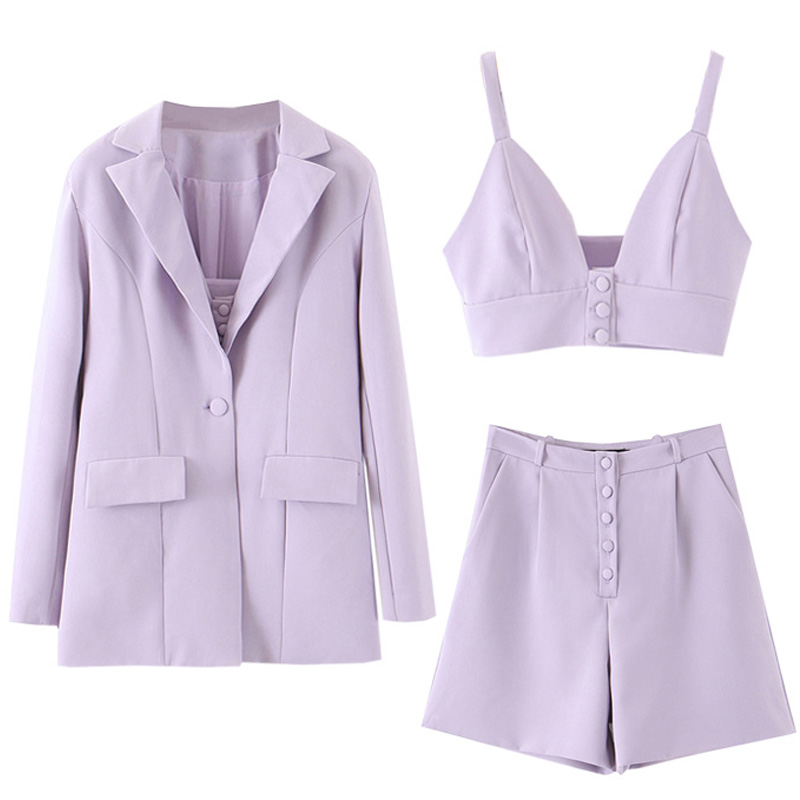 Set Women 2020 Spring And Summer New Ins Casual Jacket Suit Suspenders High Waist Shorts Temperament Fashion Solid Color Wildset