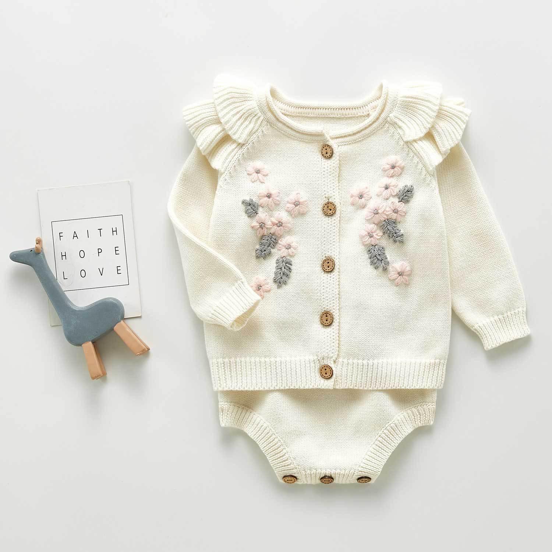 Одежда для маленьких девочек осенний детский трикотажный костюм