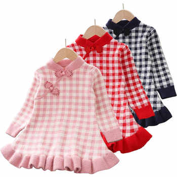 Baby Clothes For Girls Winter Autumn Long Sleeve Knitted princess dress Lotus Leaf Collar Doll Dress Dress Girls Baby Clothing