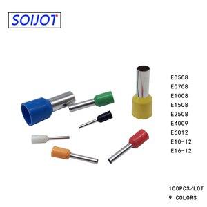 100pcs Insulated Ferrules Terminal Crimp Terminator cold pressed insulated termina VE0508 7508 1008 1508 2508 4009 Copper