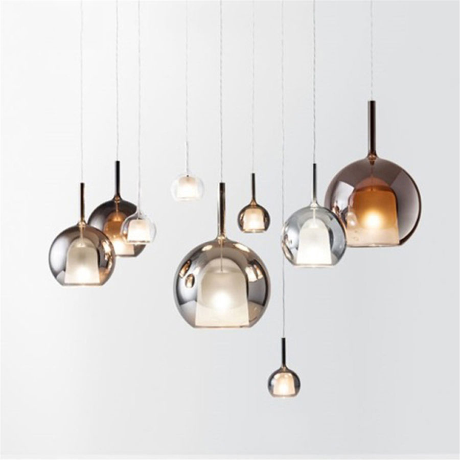 Image 1 - nordic bottle colored glass led pendant lights designer hanging lamp living room bar villa luminaire home deco kitchen fixtures-in Pendant Lights from Lights & Lighting