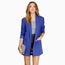 Женский блейзер на одной пуговице с длинным рукавом, женский пиджак, Женский блейзер, синий, черный, белый цвет, осеннее пальто