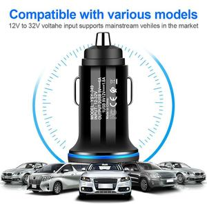 Автомобильное зарядное устройство со светящейся апертурой, светодиодный, двойной USB, быстрая зарядка, автомобильное зарядное устройство дл...