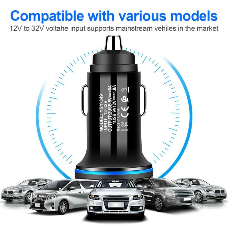 Glowing Aperture Car Charger LED-dual USB Fast Charging Car Charger For Xiaomi Samsung S8 S9 IPhone X 6 6s 7 8 Plus Tablet