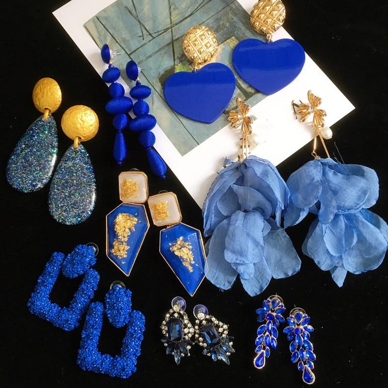 Синие акриловые кружевные серьги ручной работы с кристаллами, геометрические серьги из бисера в европейском и американском стиле, 2021, модны...