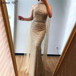 Image 4 - Vestidos de Noche de plata de Dubái de sirena de lujo, diseño sin mangas, Sexy, ilusión de rebordear, vestido Formal 2020 Serene Hill LA70087