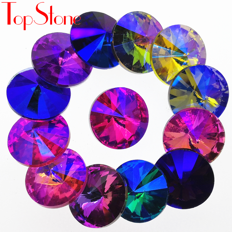 TopStone Colors AB Rivoli Fancy Stone Μέγεθος 6mm ~ 18mm Round Pointback Glass Crystal Rhinestones για κατασκευή κοσμημάτων