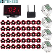 Retekess 40pcs T117 Call Button+4pcs TD108 Watch Receiver+Receiver Host+Signal Repeater Restaurant Pager Wireless Calling System