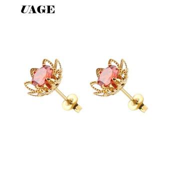 UAGE Lotus, pendientes de acero inoxidable, joyería para mujer, pendientes de tuerca...