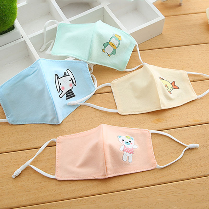 3PCS Kids Cartoon Mouth Mask Printing Dustproof Breathable PM2.5 Cotton Mouth Face Nose Mask Cover Anti-Dust Face Mask
