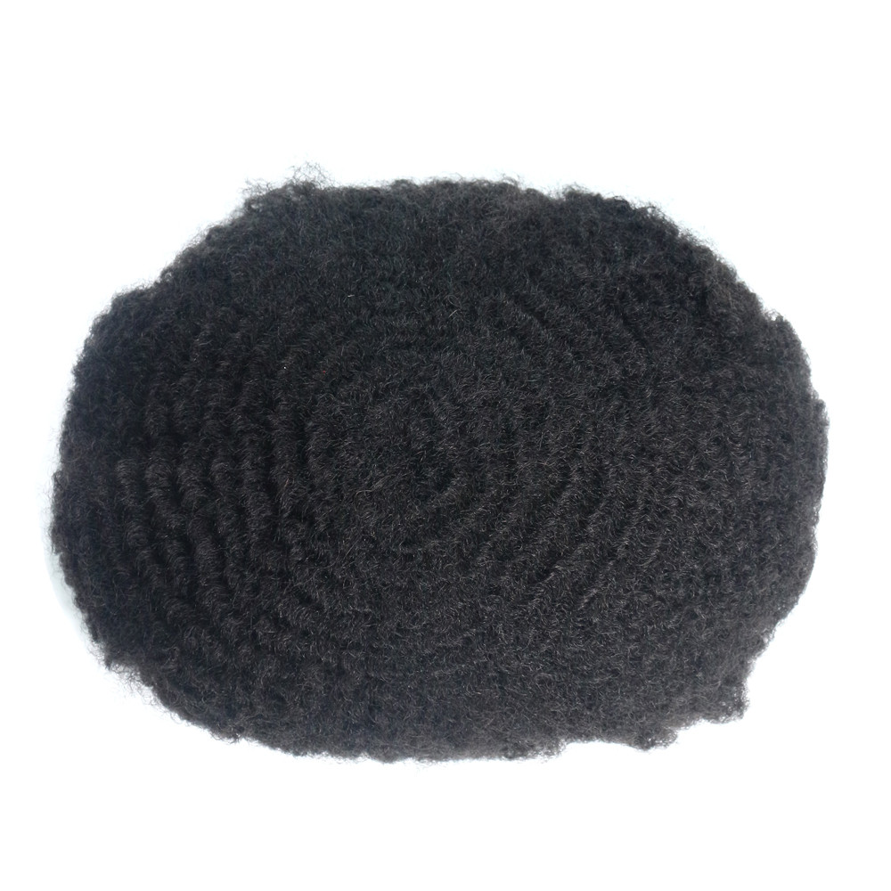 Fashion Toupee Hair Curly 8mm Skins Hair Replacement 6 Inch Indian Human Hair For Men