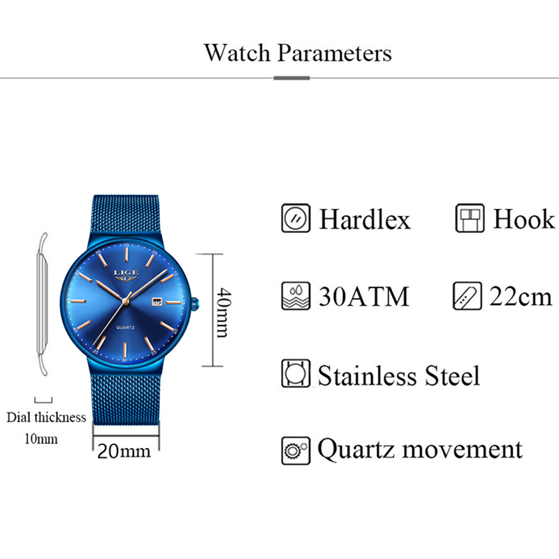 LIGE Womens Watches Top Brand luxury Analog Quartz Watch Women Full Blue Mesh Stainless Steel Date Clock Fashion Ultra-thin Dial 3