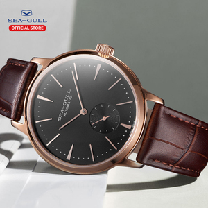 Image 5 - Seagull Business Watches Mens Mechanical Wristwatches 50m Waterproof Leather Valentine Male Watches 519.12.6075