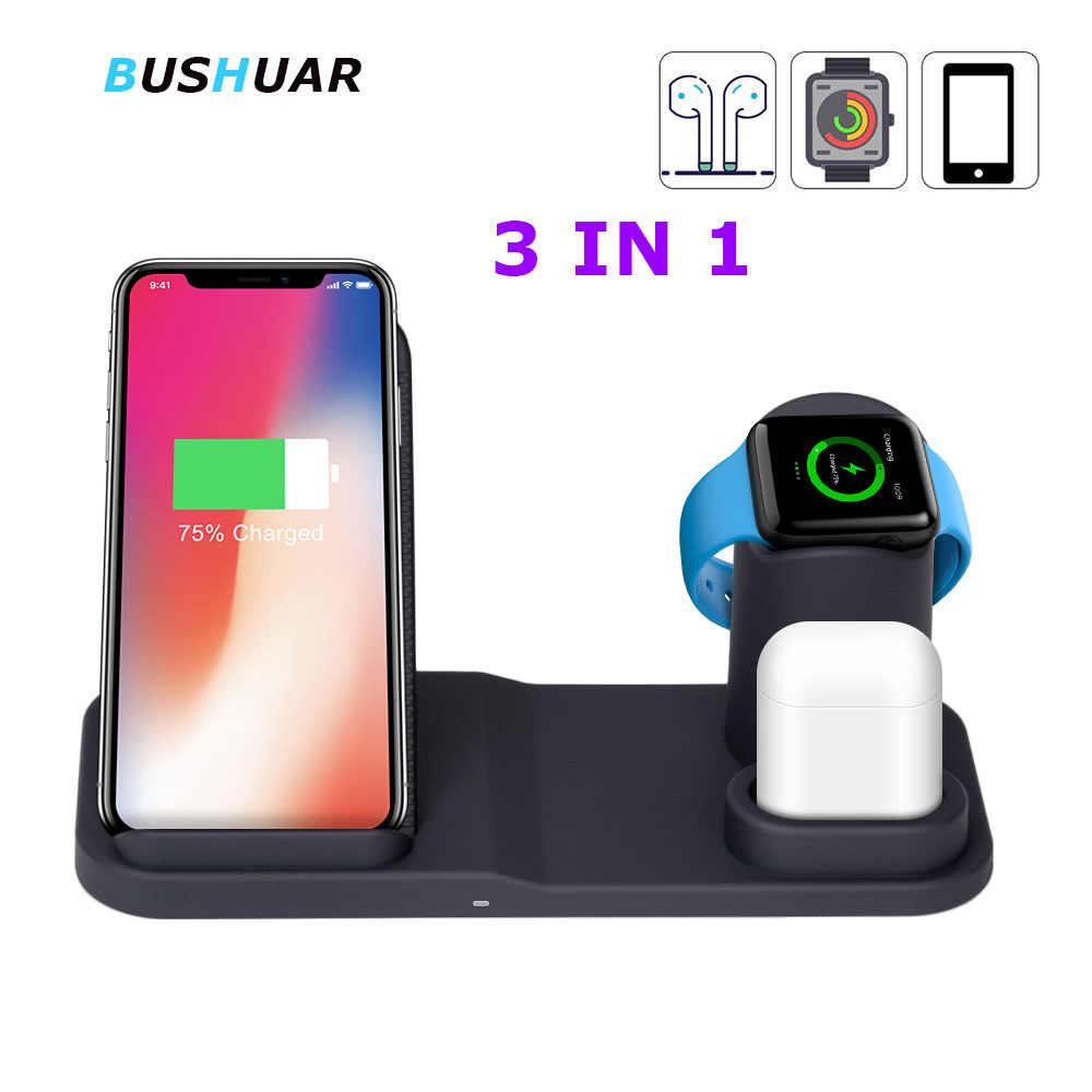 3 in 1 Wireless Charger Dock Station For iPhone XR XS Max 8 10W Fast Charging for Apple Watch 2 3 4 For AirPods For Samsung S10
