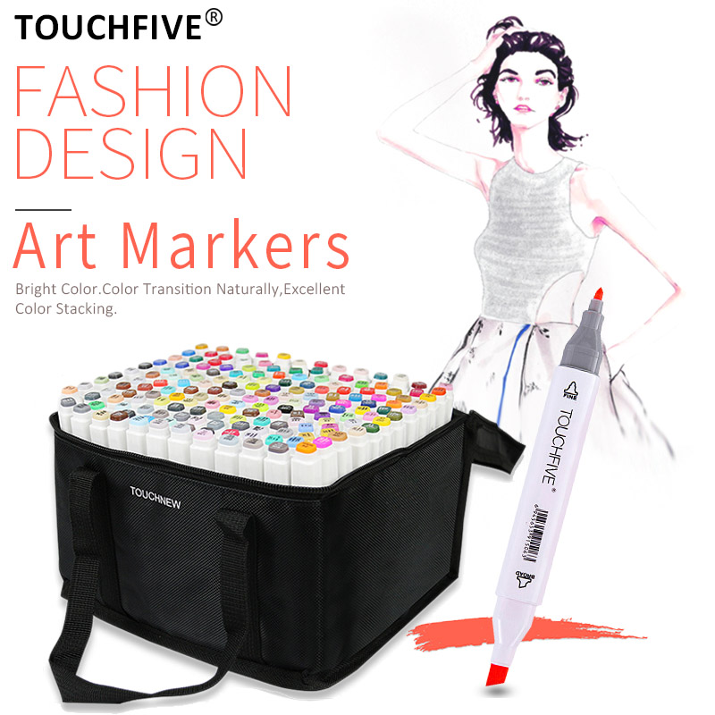 TouchFive Markers 30/40/60/80/108/168 Colors Set Painting Pen Alcohol Ink Double-Headed Quick-Drying Art Student Suppiles