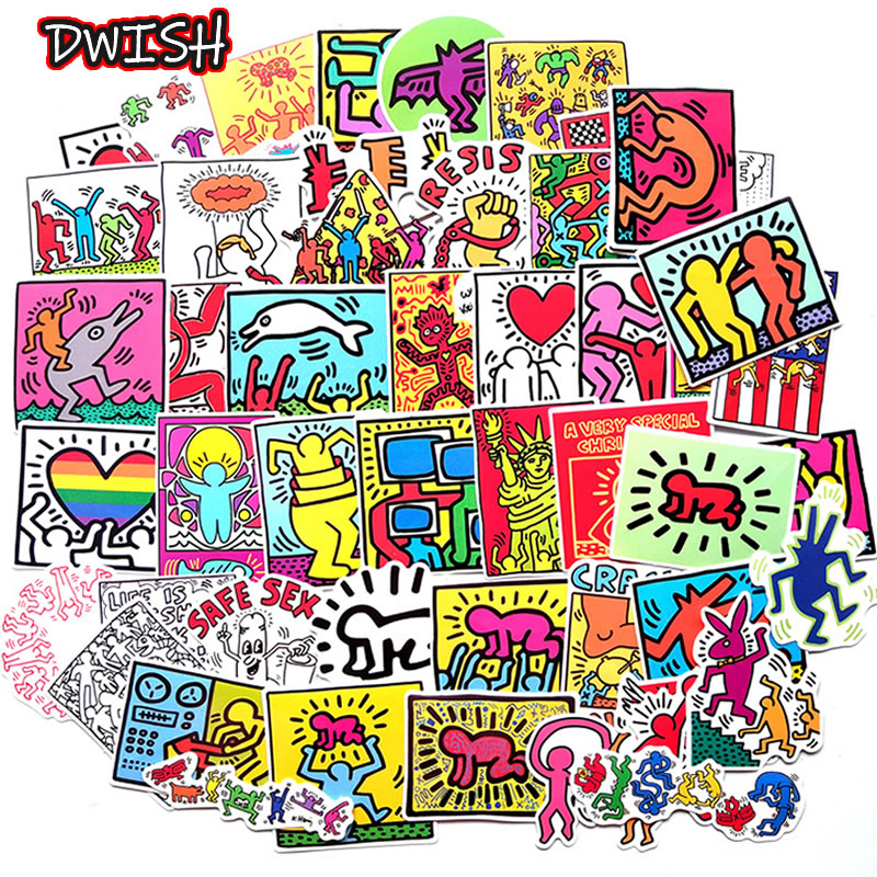 10/30/50pcs Cartoon Keith Haring Sticker Waterproof PVC Luggage Guitar Motorcycle Skateboard Girl Funny Graffiti Sticker Kid Toy