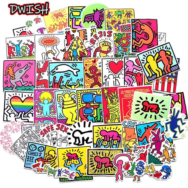 10/30/50pcs Cartoon Keith Haring Sticker Waterproof PVC Luggage Guitar Motorcycle Skateboard Girl Funny Graffiti Sticker Kid Toy