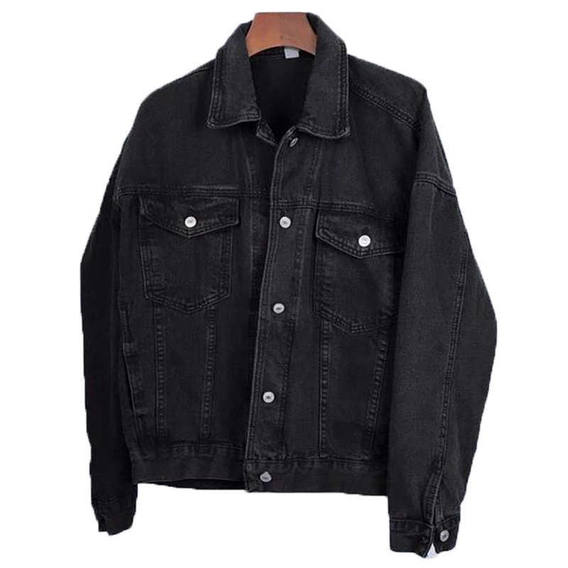 Koreanische Jeans Jacken und Mäntel für Frauen 2019 Schwarz Denim Jacke Taste Drehen-unten Kragen Damen Jacken Outwear Casaco feminino