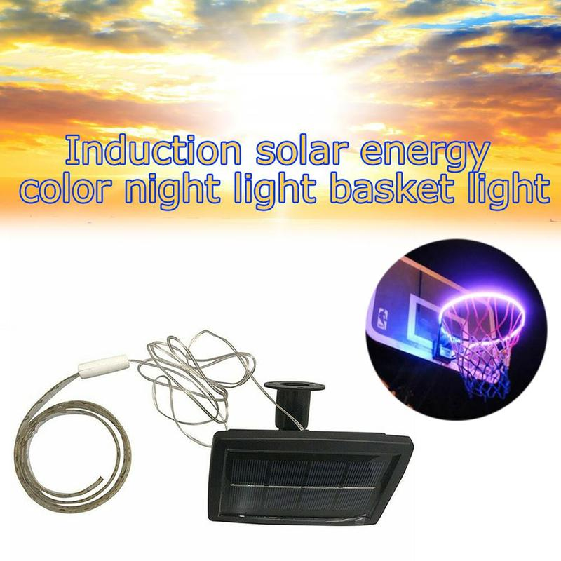 1 PCS LED Basket Hoop Solar Basketball Rim Playing At Night Shooting Accessories Attachment