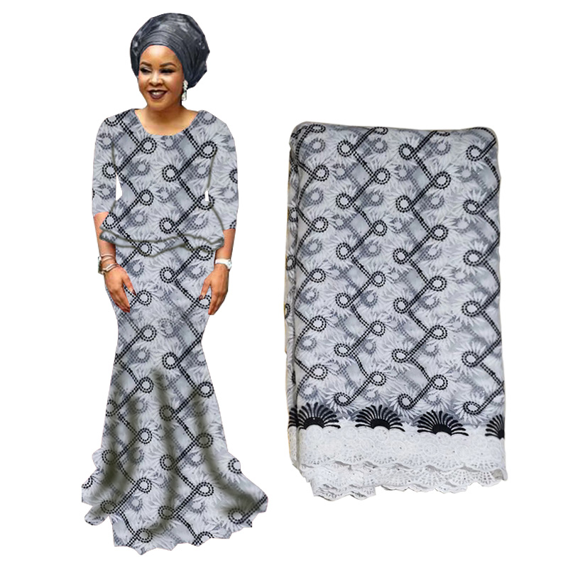 2019 High Quality African Lace Fabric Nigerianh Net Embroidery Tulle Lace Black Swiss Voile Lace Fabric For Wedding Party Dress