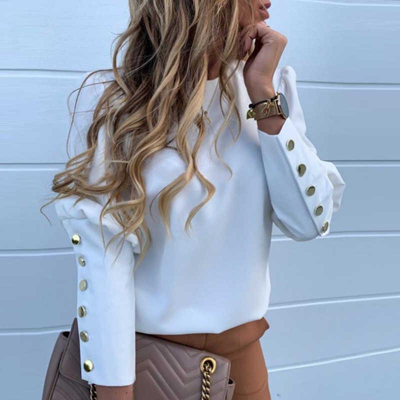 Blusa elegante nueva Puff hombro camisas Oficina dama otoño Metal botones detalle blusas Mujer piña estampado manga larga