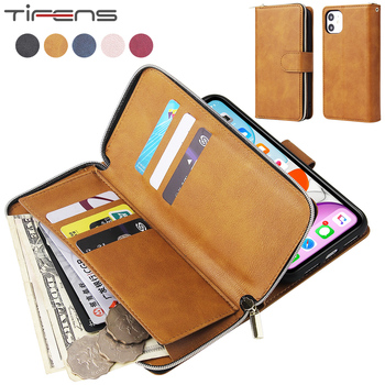 Luxury Flip Leather 9 Cards Zipper Wallet Cases For iPhone 12 Mini 11 Pro X XS MAX XR SE 2020 6 6s 7 8 Plus Magnetic Phone Cover