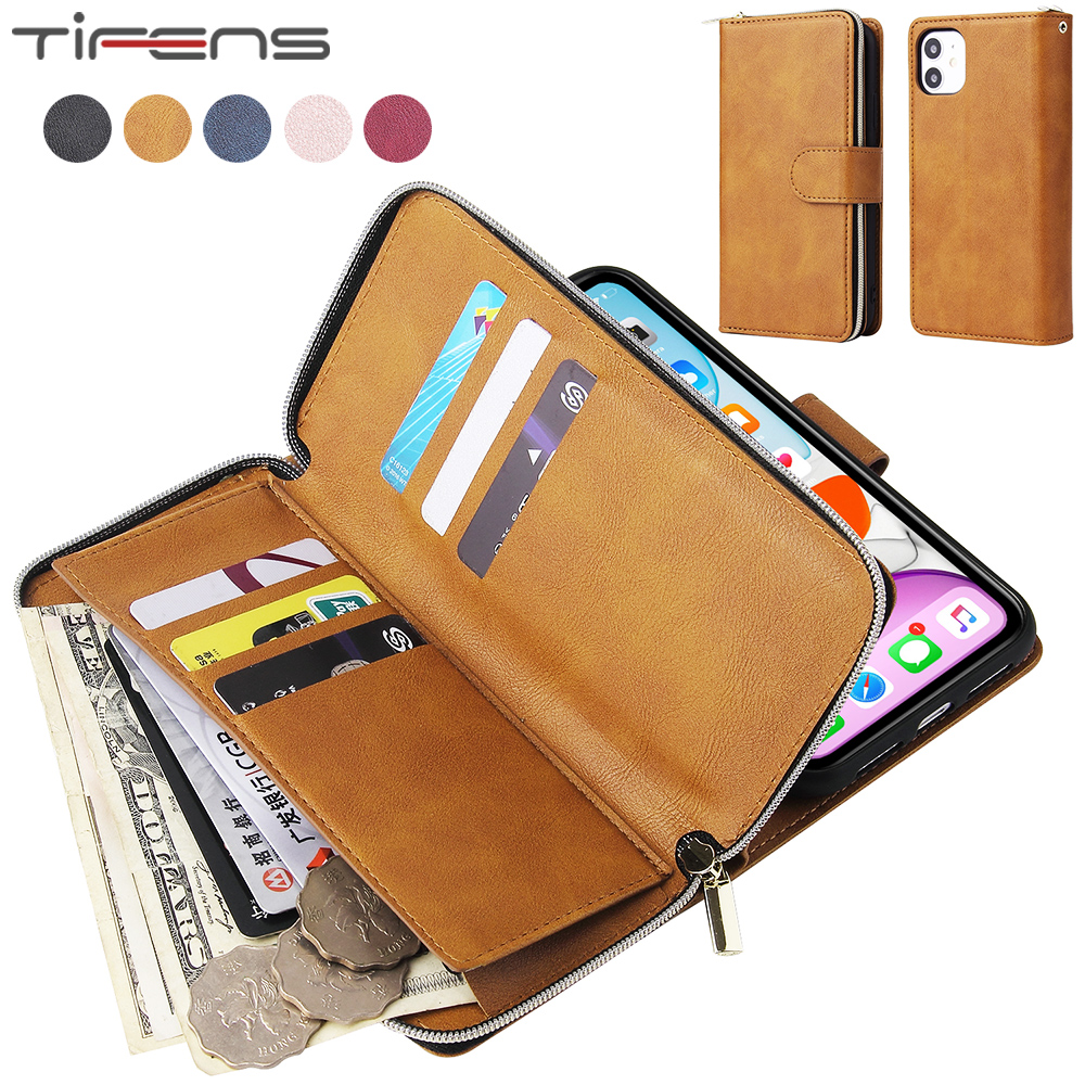Luxury Flip Leather 9 Cards Zipper Wallet Cases For iPhone SE 2020 11 Pro X XS MAX XR 6 6s 7 8 Plus Magnetic Phone Cover Coque